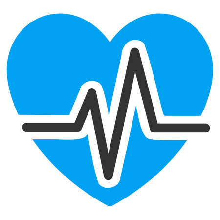 Heart Diagram vector icon. Style is bicolor flat symbol, blue and gray colors, rounded angles, white background.