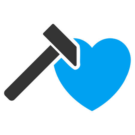 hummer: Heart Hummer vector icon. Style is bicolor flat symbol, blue and gray colors, rounded angles, white background. Illustration
