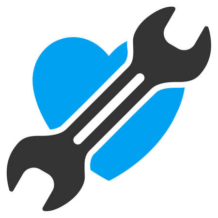 heart surgery: Heart Surgery vector icon. Style is bicolor flat symbol, blue and gray colors, rounded angles, white background.