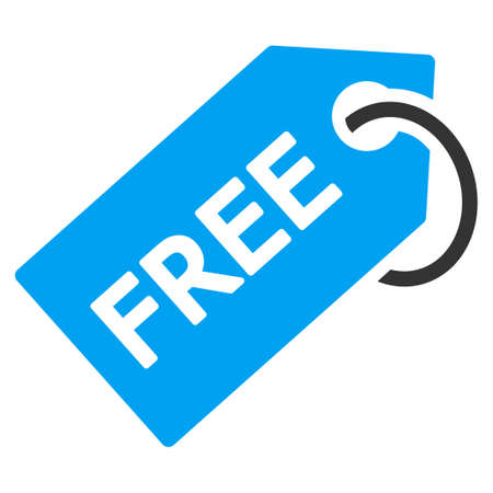 Free Tag vector icon. Style is bicolor flat symbol, blue and gray colors, rounded angles, white background.