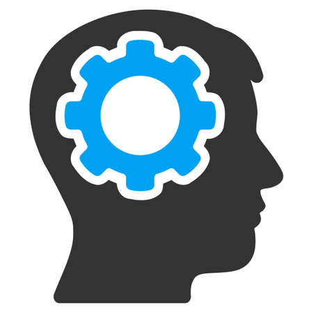 mind: Human Mind vector icon. Style is bicolor flat symbol, blue and gray colors, rounded angles, white background.