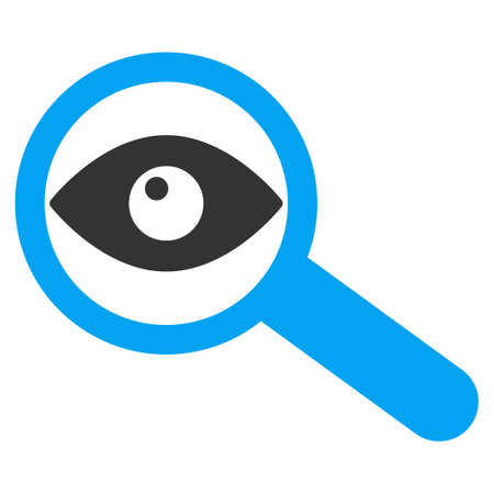 investigate: Investigate vector icon. Style is bicolor flat symbol, blue and gray colors, rounded angles, white background. Illustration