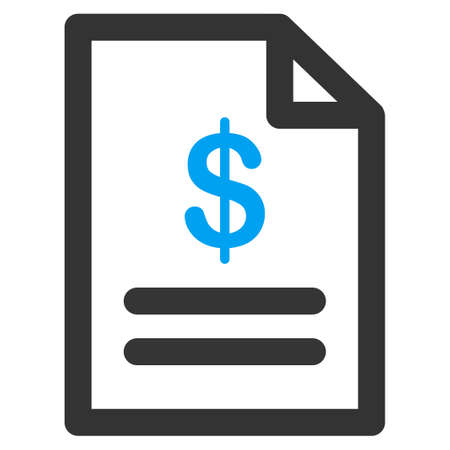 indent: Invoice vector icon. Style is bicolor flat symbol, blue and gray colors, rounded angles, white background.