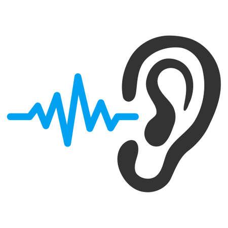 escuchando musica: Escuchar icono del vector. El estilo es el símbolo plana bicolor, colores azul y gris, ángulos redondeados, fondo blanco.