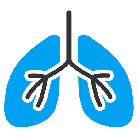 bronchitis: Lungs vector icon. Style is bicolor flat symbol, blue and gray colors, rounded angles, white background.