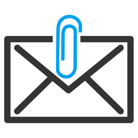 Mail Attachement vector icon. Style is bicolor flat symbol, blue and gray colors, rounded angles, white background.
