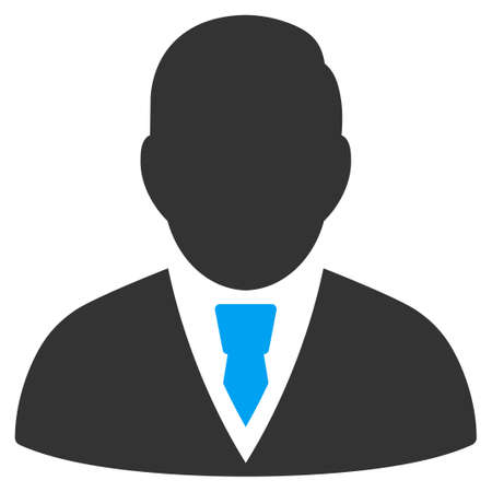 the programmer: Manager vector icon. Style is bicolor flat symbol, blue and gray colors, rounded angles, white background.