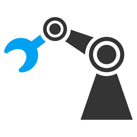 manipulator: Manipulator vector icon. Style is bicolor flat symbol, blue and gray colors, rounded angles, white background.