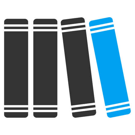 Library Books vector icon. Style is bicolor flat symbol, blue and gray colors, rounded angles, white background. Illustration