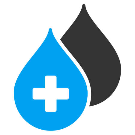 medical symbol: Medical Drops vector icon. Style is bicolor flat symbol, blue and gray colors, rounded angles, white background.