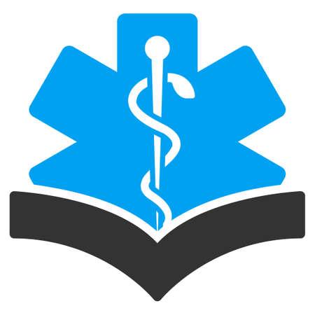 open book: Icono del vector de conocimientos m�dicos. El estilo es el s�mbolo plana bicolor, colores azul y gris, �ngulos redondeados, fondo blanco.
