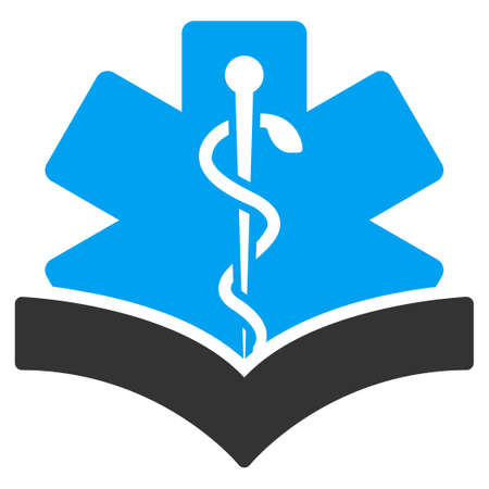 open diary: Medical Knowledge vector icon. Style is bicolor flat symbol, blue and gray colors, rounded angles, white background.