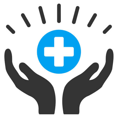 medical distribution: Medical Prosperity vector icon. Style is bicolor flat symbol, blue and gray colors, rounded angles, white background. Illustration