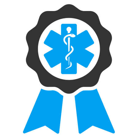 Medical Seal vector icon. Style is bicolor flat symbol, blue and gray colors, rounded angles, white background. Illustration