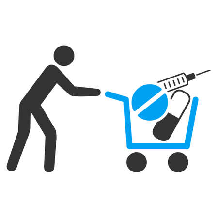 emergency cart: Medical Shopping vector icon. Style is bicolor flat symbol, blue and gray colors, rounded angles, white background. Illustration