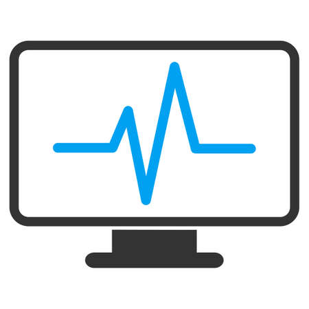 pc monitor: Monitoring vector icon. Style is bicolor flat symbol, blue and gray colors, rounded angles, white background.