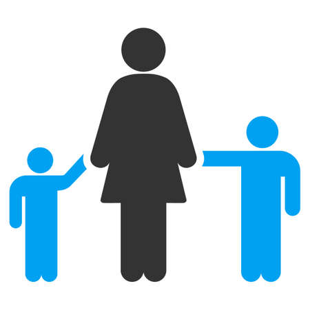 child care: Mother And Children vector icon. Style is bicolor flat symbol, blue and gray colors, rounded angles, white background.