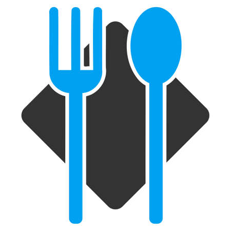 banquet table: Nutrition vector icon. Style is bicolor flat symbol, blue and gray colors, rounded angles, white background.