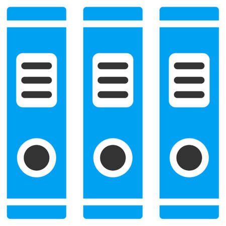 directory book: Office Books vector icon. Style is bicolor flat symbol, blue and gray colors, rounded angles, white background.