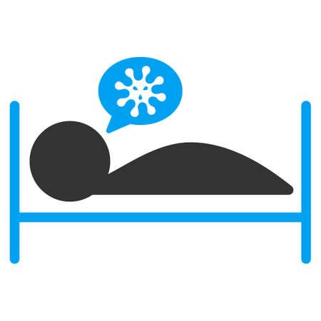 patient in bed: Paciente icono Cama vectorial. El estilo es el s�mbolo plana bicolor, colores azul y gris, �ngulos redondeados, fondo blanco. Vectores