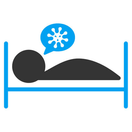 patient bed: Patient Bed vector icon. Style is bicolor flat symbol, blue and gray colors, rounded angles, white background. Illustration