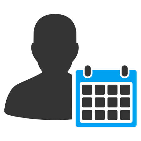 time account: Patient Calendar vector icon. Style is bicolor flat symbol, blue and gray colors, rounded angles, white background.