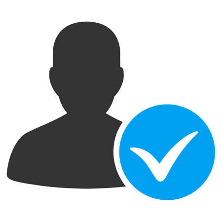valid: Patient Ok vector icon. Style is bicolor flat symbol, blue and gray colors, rounded angles, white background.