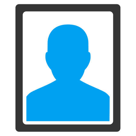 members: Patient Portrait vector icon. Style is bicolor flat symbol, blue and gray colors, rounded angles, white background.