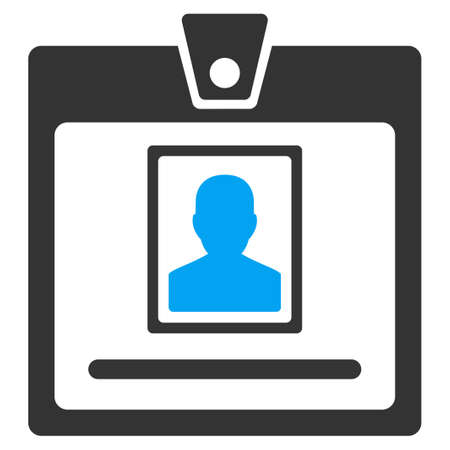 permission: Person Badge vector icon. Style is bicolor flat symbol, blue and gray colors, rounded angles, white background. Illustration
