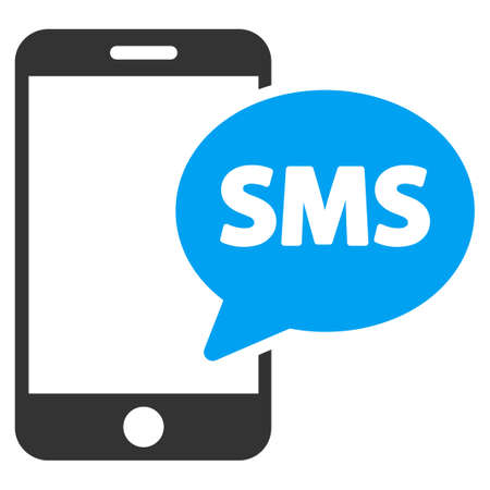 short message service: Phone Sms vector icon. Style is bicolor flat symbol, blue and gray colors, rounded angles, white background.