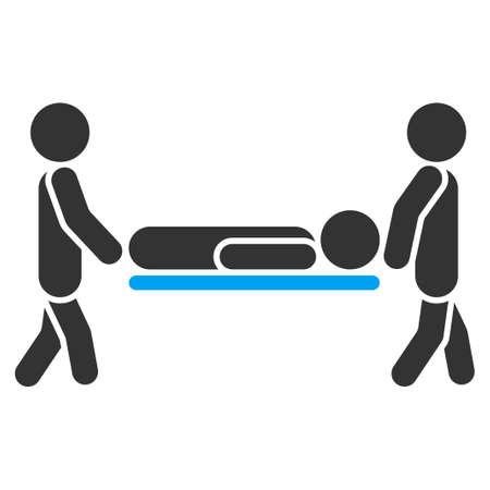 paciente en camilla: Paciente del icono del vector Camilla. El estilo es el símbolo plana bicolor, colores azul y gris, ángulos redondeados, fondo blanco.