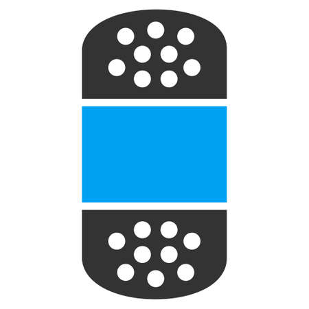 white patches: Plaster vector icon. Style is bicolor flat symbol, blue and gray colors, rounded angles, white background.