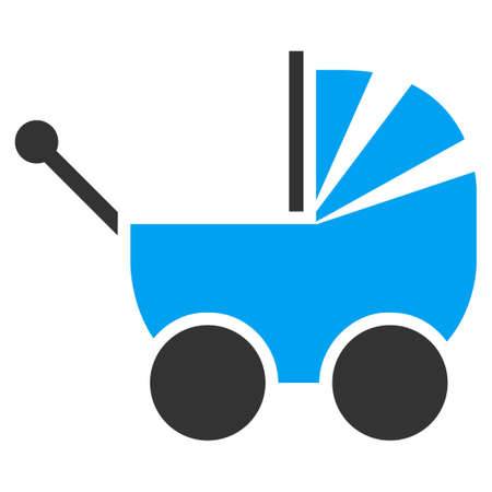 waggon: Pram vector icon. Style is bicolor flat symbol, blue and gray colors, rounded angles, white background.
