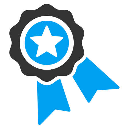 quality icon: Quality Seal vector icon. Style is bicolor flat symbol, blue and gray colors, rounded angles, white background. Illustration