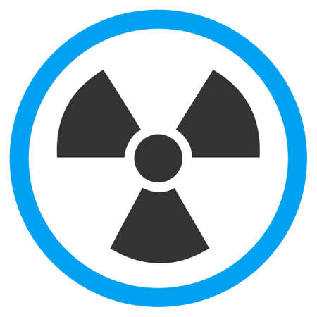 nuclear safety: Radiation Danger vector icon. Style is bicolor flat symbol, blue and gray colors, rounded angles, white background.