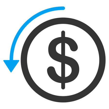 refund: Refund vector icon. Style is bicolor flat symbol, blue and gray colors, rounded angles, white background.