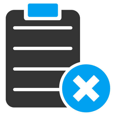 Reject Form vector icon. Style is bicolor flat symbol, blue and gray colors, rounded angles, white background.