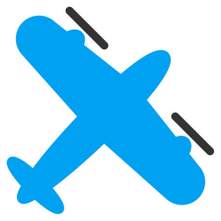 Screw Aeroplane vector icon. Style is bicolor flat symbol, blue and gray colors, rounded angles, white background.
