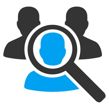 Search Patient vector icon. Style is bicolor flat symbol, blue and gray colors, rounded angles, white background.