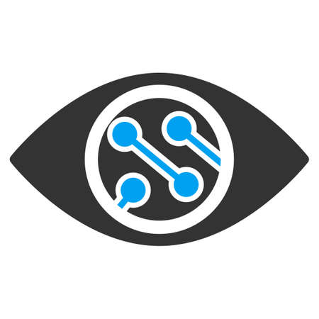 contact lens: Smart Lens vector icon. Style is bicolor flat symbol, blue and gray colors, rounded angles, white background.