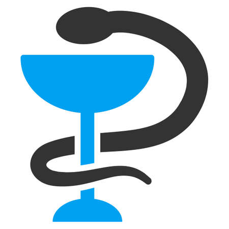 toxic substance: Snake Cup vector icon. Style is bicolor flat symbol, blue and gray colors, rounded angles, white background. Illustration
