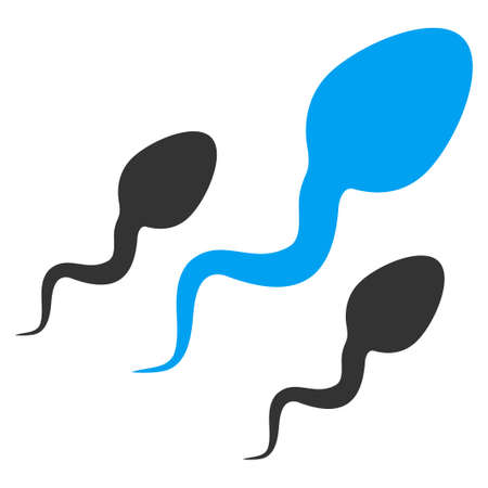 idler: Sperm vector icon. Style is bicolor flat symbol, blue and gray colors, rounded angles, white background.