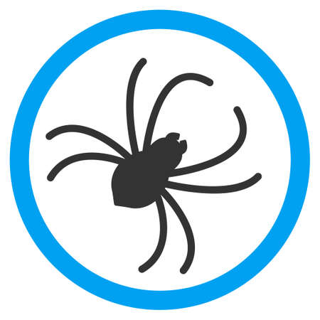 web crawler: Spider vector icon. Style is bicolor flat symbol, blue and gray colors, rounded angles, white background. Illustration