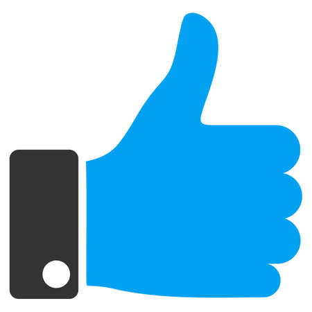 validate: Thumb Up vector icon. Style is bicolor flat symbol, blue and gray colors, rounded angles, white background. Illustration