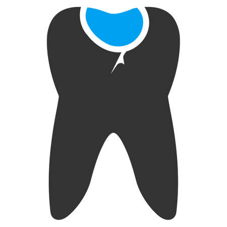 carious cavity: Tooth Caries vector icon. Style is bicolor flat symbol, blue and gray colors, rounded angles, white background.
