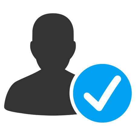 Valid Patient vector icon. Style is bicolor flat symbol, blue and gray colors, rounded angles, white background.