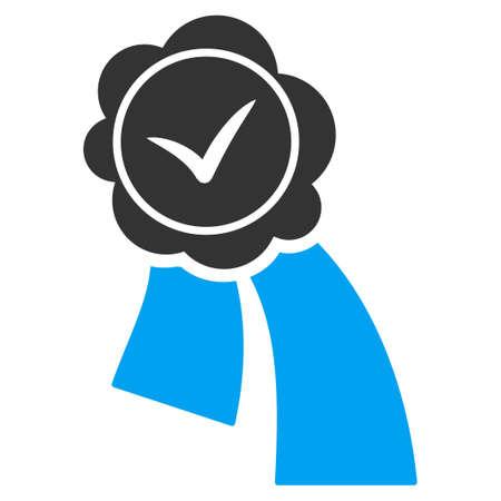 Icono del vector de Validación Seal. El estilo es el símbolo plana bicolor, colores azul y gris, ángulos redondeados, fondo blanco.