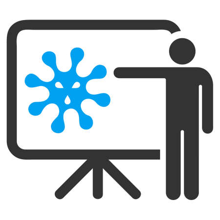 epidemy: Virus Report vector icon. Style is bicolor flat symbol, blue and gray colors, rounded angles, white background. Illustration