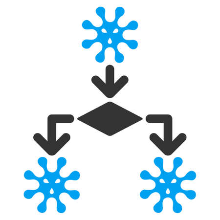 virus: Virus Reproduction vector icon. Style is bicolor flat symbol, blue and gray colors, rounded angles, white background.