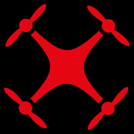 airflight: Airdrone raster icon. Style is flat symbol, red color, rounded angles, black background.